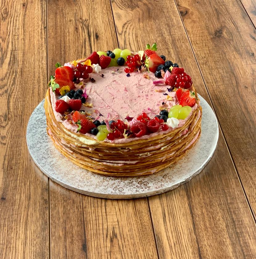 Crêpe Cake s bielou čokoládou a malinami - 20-25 porcií