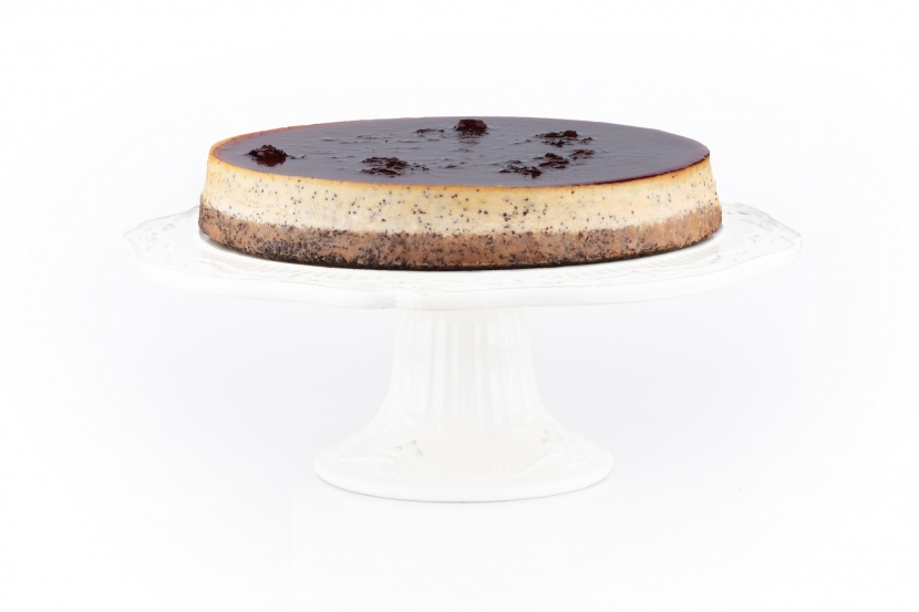 Makový cheesecake s višňovým pyré - mini kocky