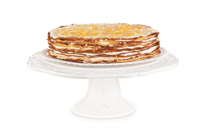 Crêpe Cake s citrónovým krémom a bielou čokoládou - 12-14 porcií