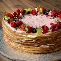 Crêpe Cake s bielou čokoládou a malinami - 28cm, cca. 20-25 porcií